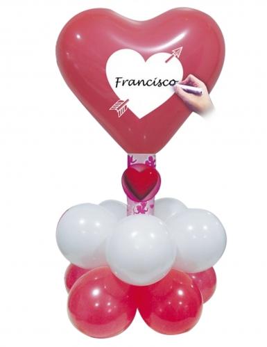 Kit ballons coeurs rouges et blancs personnalisable