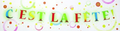 Bannière papier C'est la fête 2,44 m
