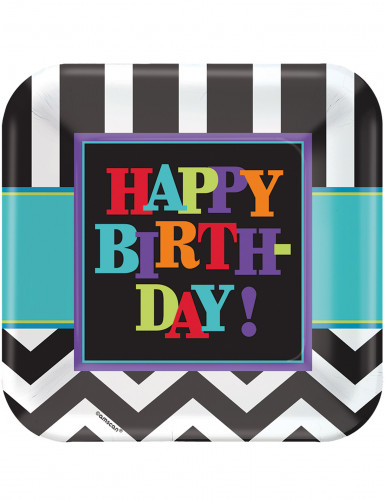 8 Assiettes en carton Celebrate your birthday 23 cm