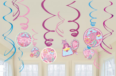 Lot de 12 suspensions anniversaire princesse