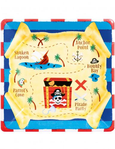 8 Assiettes en carton Sourire de pirate 26 cm