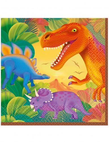 16 Serviettes en papier Dinosaure 33 x 33 cm