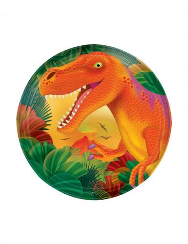 8 Petites assiettes en carton dinosaure 18 cm