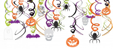 30 Décorations spirales à suspendre Halloween