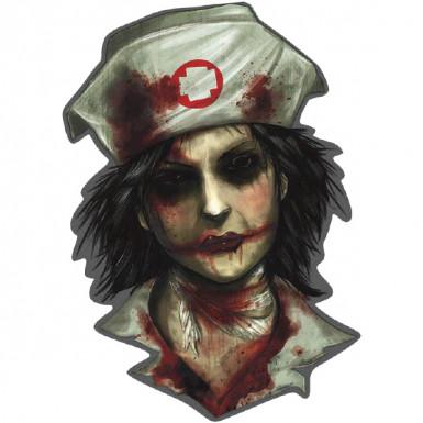 Décoration murale infirmière zombie Halloween 26 cm