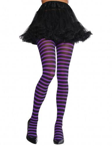 Collants rayés violet et noir Adulte