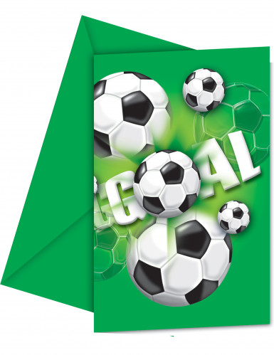 6 Cartes invitations en carton Football