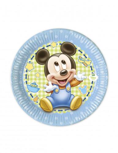 8 Petites assiettes en carton Bébé Mickey ™ 20 cm