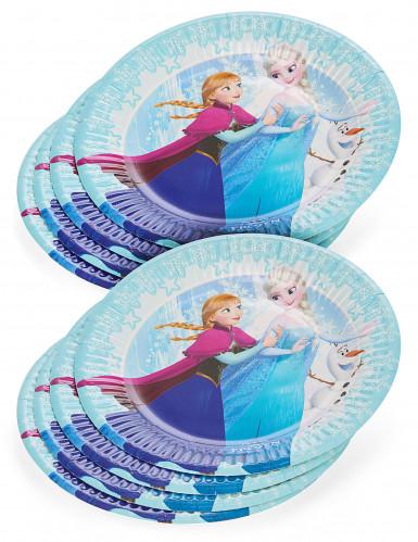 8 Petites assiettes en carton La Reine des Neiges ™ 19 cm-1