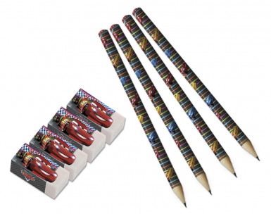 4 Crayons et 4 gommes Cars™
