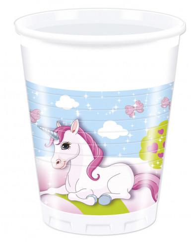 8 Gobelets en plastique Licorne 200 ml