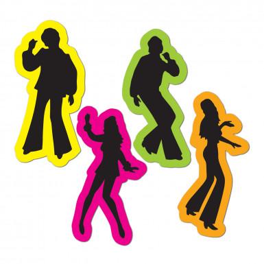 4 Silhouettes Rétro disco années 70's 40 cm