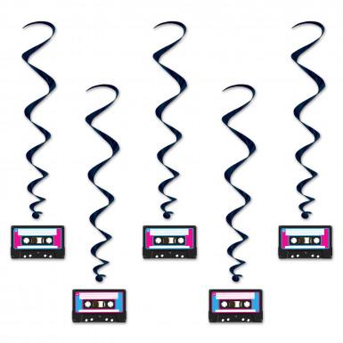 5 Décorations à suspendre Cassette années 80's