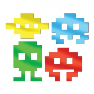 4 Décorations icônes métalliques années 80's 30 cm