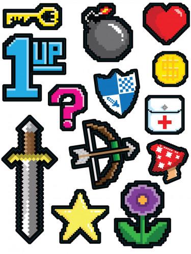 13 Décorations stickers 8-Bit années 80's