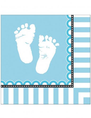 16 Serviettes en papier Pieds bleus 33 x 33 cm