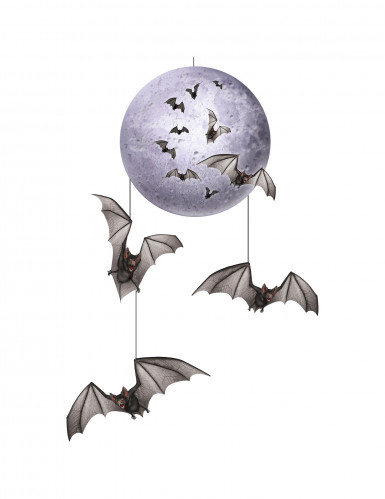Suspension lune & chauve-souris Halloween