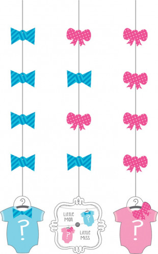 3 Décorations à suspendre Baby Shower Fille ou Garçon 91 cm