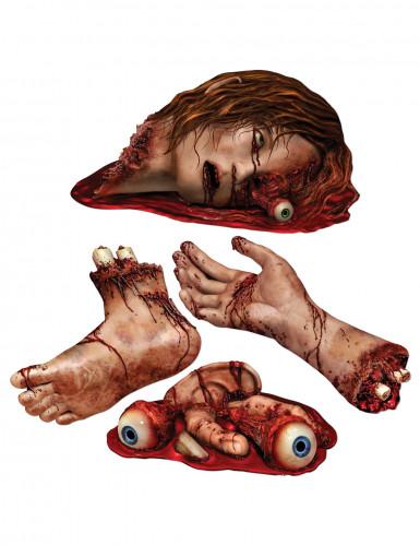 4 Décorations cartonnées parties du corps ensanglantées Halloween