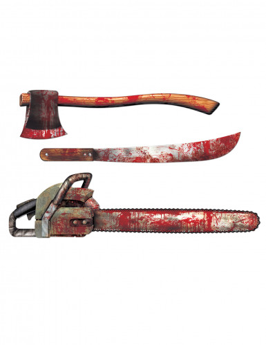 3 Décorations en carton d'armes ensanglantées Halloween