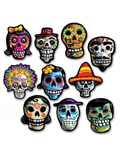10 Mini décorations en carton Dia de los Muertos 12 x 9 cm
