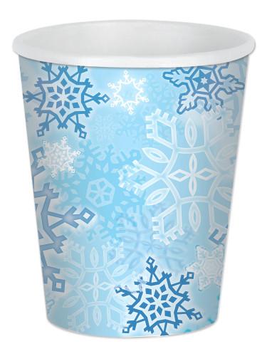 8 Gobelets carton Flocons de neige 25 cl