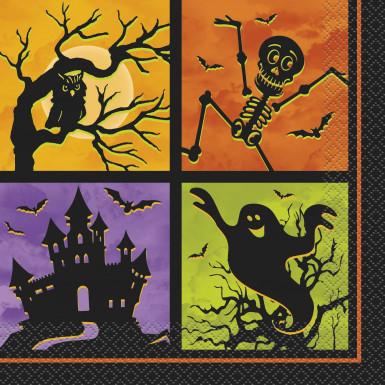 20 Serviettes en papier Nuit d'Halloween 33 x 33 cm