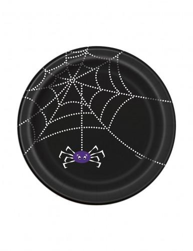8 Petites assiettes en carton Toile d'araignée Halloween 18 cm