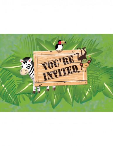 8 Cartons d'invitation anniversaire Safari aventure