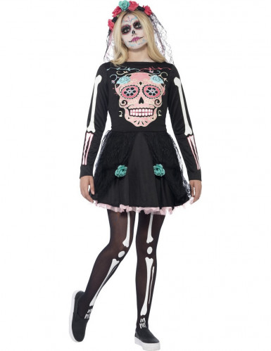 Déguisement squelette coloré adolescente halloween