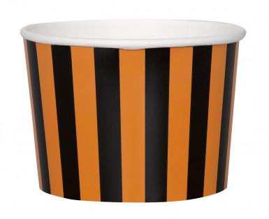 8 Coupelles en carton rayées orange et noires Halloween