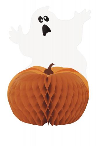 Centre de table Fantôme et Citrouille Halloween 28 cm