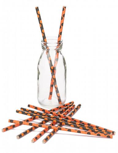 10 Pailles noir et orange en papier Halloween-1