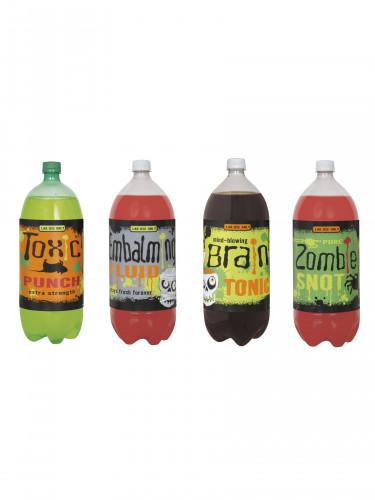 4 Etiquettes pour bouteilles Monstres Halloween