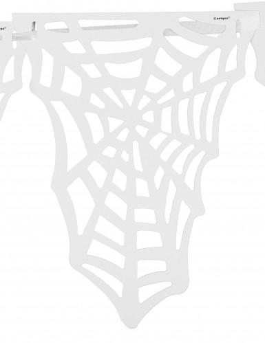 Guirlande fanions Toiles d'araignées blanches Halloween-1