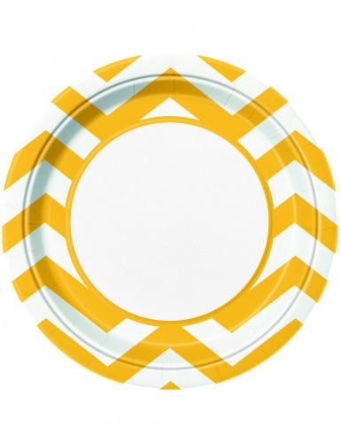 8 Assiettes jaune en carton Chevron 23 cm