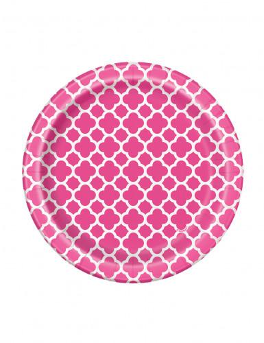 8 Petites assiettes en carton Grafik rose 17 cm