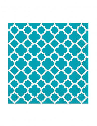 16 Petites Serviettes en papier Grafik Turquoise 25 x 25 cm