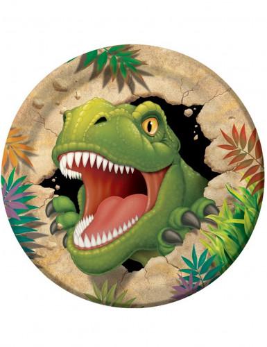 8 Assiettes en carton Anniversaire Dinosaures 23 cm