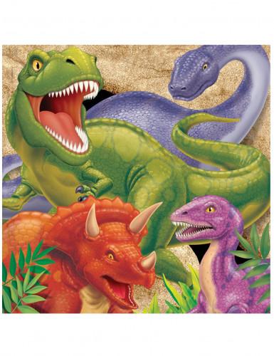 16 Serviettes en papier Anniversaire Dinosaures 33 x 33 cm