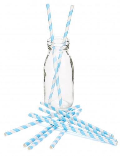10 Pailles à rayures bleues en carton 21 cm-1