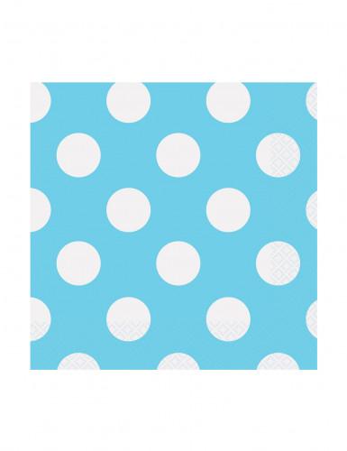 16 Petites Serviettes en papier Bleues à pois 25 x 25 cm