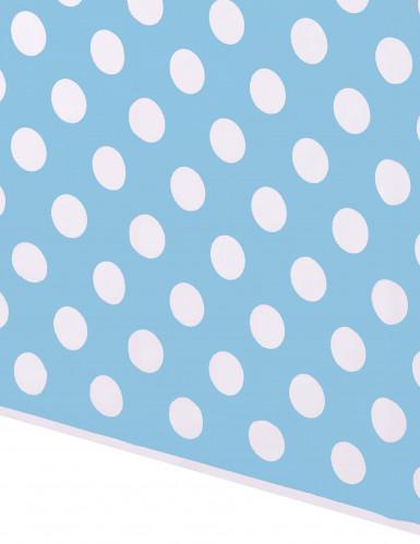 Nappe bleue à pois blancs en plastique 137 x 274 cm-1