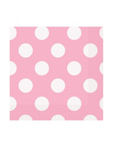16 Petites Serviettes en papier Roses à pois 25 x 25 cm