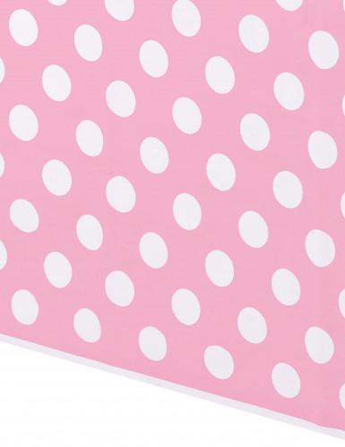 Nappe rose à pois blancs en plastique 137 x 274 cm-1