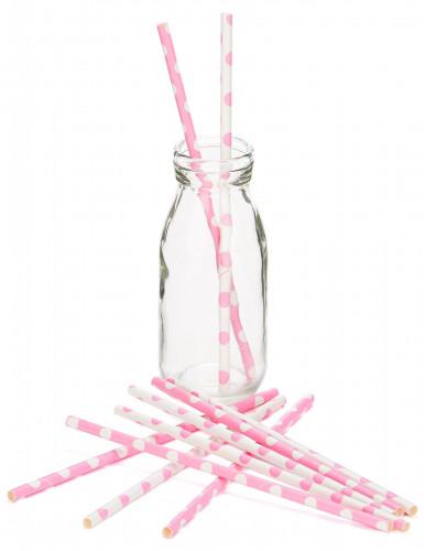 10 Pailles en carton rose clair à pois blancs 21 cm-1