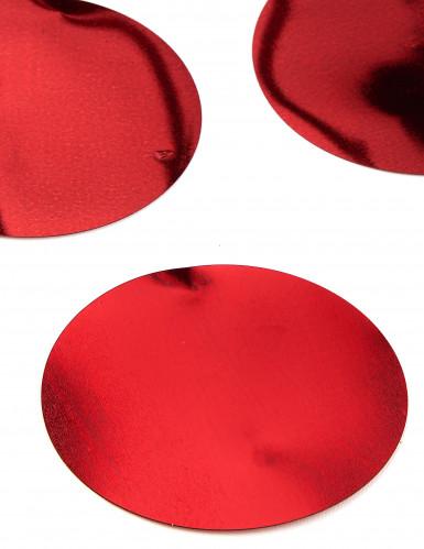 6 Confettis de table géants rouge brillant 8 cm-1