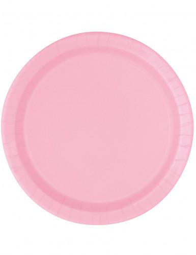 16 Assiettes rose clair en carton 23 cm