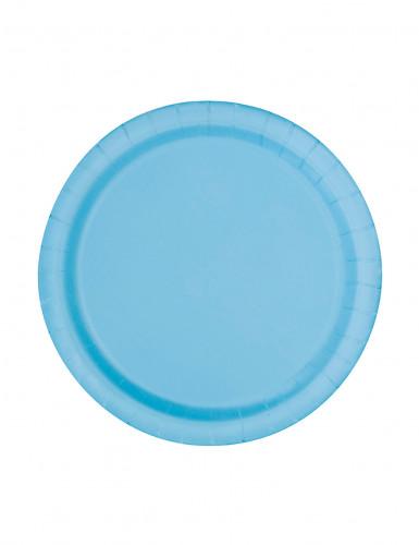 20 Petites assiettes bleu pastel en carton 17 cm