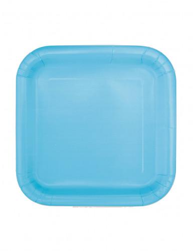 16 Petites assiettes carrées bleu pastel en carton 17 cm